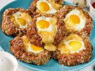 Рецепта Гнезда от кайма с тиквички и яйца на фурна